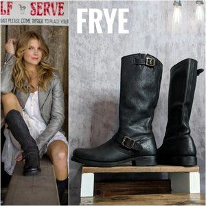 Frye Womens Black Leather Slip On Tall Boots